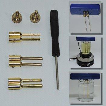 mit dem Elektrodenadapter passen Elektroden von 0,5 bis 3,3 mm in Silbergeneratoren