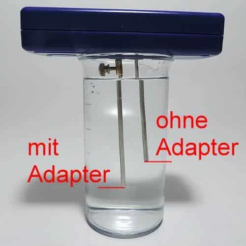 mit dem Silbergenerator-Adapter verlängert sich die Elektroden-Eintauchtiefe