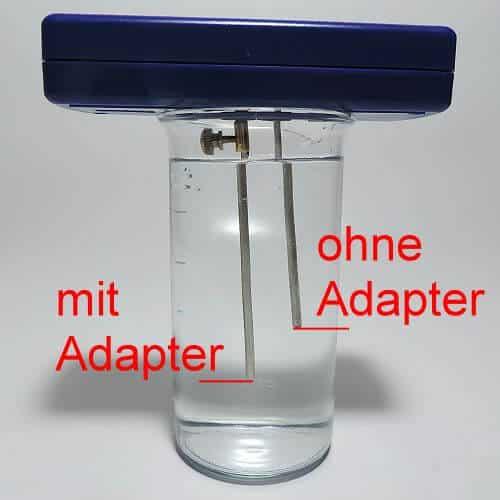 Mit dem Silbergenerator-Adapter verlängert sich die Elektroden eintauchtiefe