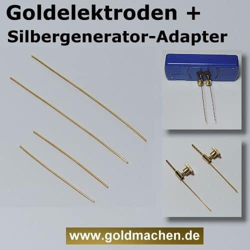 Goldelektroden für Silbergenerator plus Elektrodenadapter