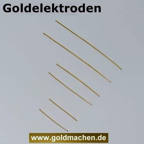 Goldelektroden in drei Längen zum kolloidales Gold herstellen